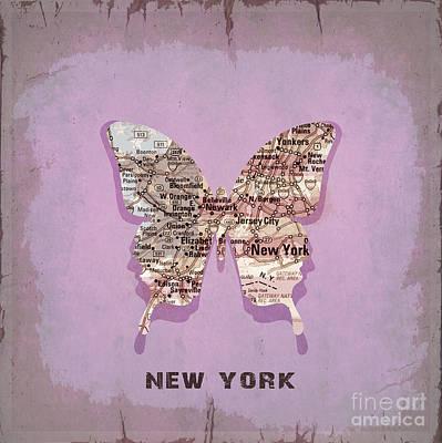 Vintage Map Digital Art - Butterfly New York by Steffi Louis