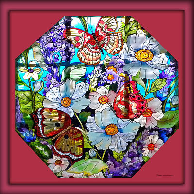 Butterfly Octagon Stained Glass Window Art Print by Thomas Woolworth