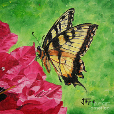 Art Print featuring the painting Butterfly On Bougainvillea by Jimmie Bartlett