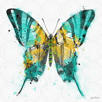 Digital Watercolor Painting - Butterfly On Circles-b by Jean Plout