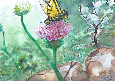 Painting - Butterfly On Flower  by Reed Novotny