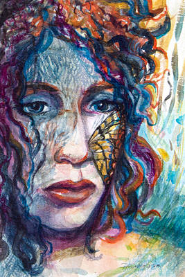 Introspection Painting - Girl With A Butterfly On Her Face by Patricia Allingham Carlson