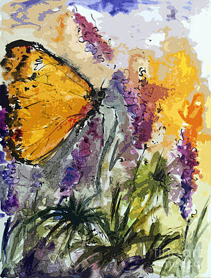 Mixed Media - Butterfly On Lupines by Ginette Callaway