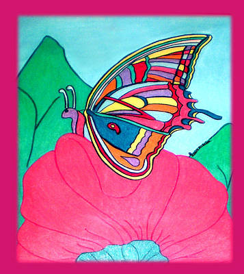 Butterfly On Pink Flower Art Print by Claire Decker