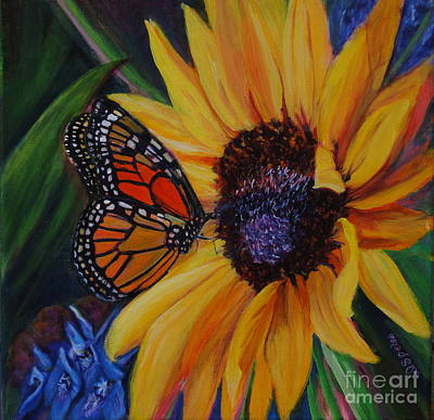 Butterfly On Sunflower Art Print by Diane Speirs