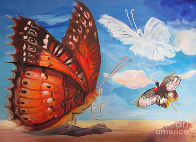 Painting - Butterfly Paysage 5 by Art Ina Pavelescu