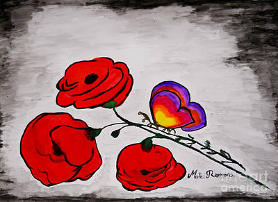 Butterfly Poppies Art Print