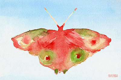 Office Wall Painting - Butterfly Red And Green Watercolor Art Print by Beverly Brown