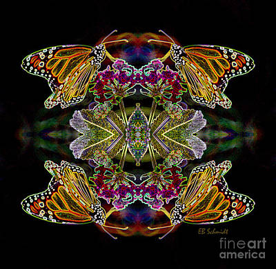 Digital Art - Butterfly Reflections 02 - Monarch by E B Schmidt
