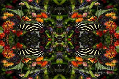 Art Print featuring the digital art Butterfly Reflections 03 - Zebra Heliconian by E B Schmidt