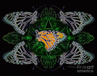 Digital Art - Butterfly Reflections 07 - Monarch by E B Schmidt