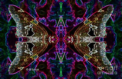 Art Print featuring the digital art Butterfly Reflections 08 - Silver Spotted Skipper Reflections by E B Schmidt