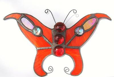 Cabochon Glass Art - Butterfly Stained Glass Suncatcher In Orange With Red Accents by Wendy Wehe-Ballone