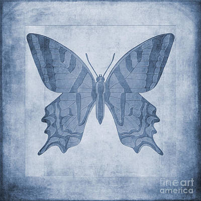 Macro Digital Art - Butterfly Textures Cyanotype by John Edwards
