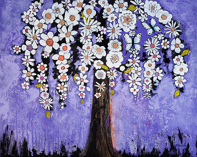 Orchid Art Painting - Butterfly Tree by Blenda Studio