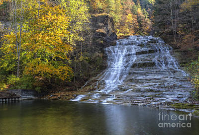 Buttermilk Falls Autumn Art Print by Colin D Young