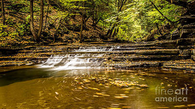 Photograph - Buttermilk Falls With Fall Swirling Leaves by Brad Marzolf Photography