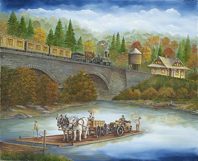 Buttermilk Falls With Ferry Art Print by Carol Angela Brown
