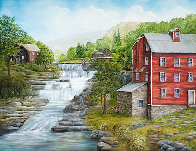 Babbling Brook Painting - Buttermilk Falls With Red Mill by Carol Angela Brown
