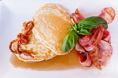 Photograph - Buttermilk Pancakes With Bacon And Maple Syrup by Silken Photography