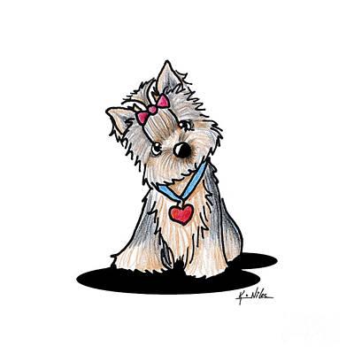 Yorkie Drawing - Butternut Yorkie by Kim Niles