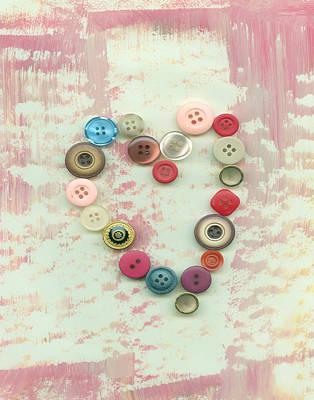 Digital Art - Button Heart by Ann Powell