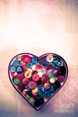 Button Love Art Print by Jan Bickerton