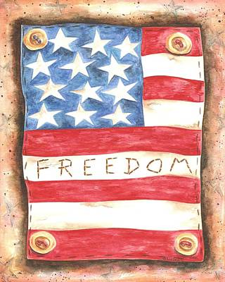 Americana Licensing Painting - Buttoned Freedom Flag - Liz Revit by Liz Revit