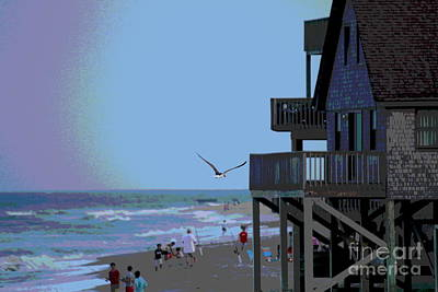 Buxton Beach And People Art Print by Cathy Lindsey