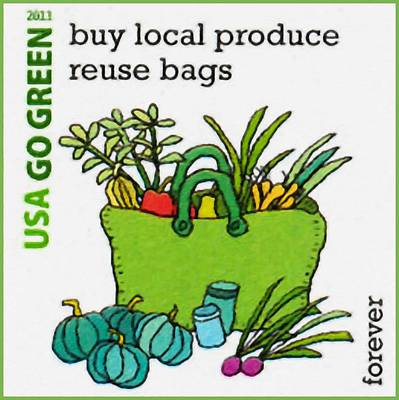 Reuse Painting - Go Green-buy Local Produce Reuse Bags by Lanjee Chee