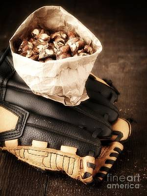 Baseball Gloves Wall Art - Photograph - Buy Me Some Peanuts And Cracker Jack by Edward Fielding