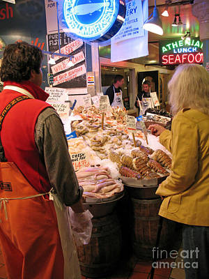 Photograph - Buying Seafood At Pike Place Market by Connie Fox