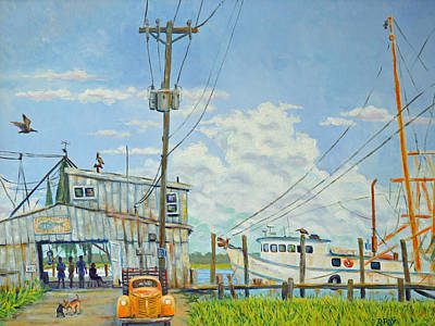 Art Print featuring the painting Buying Shrimp In Rockville by Dwain Ray