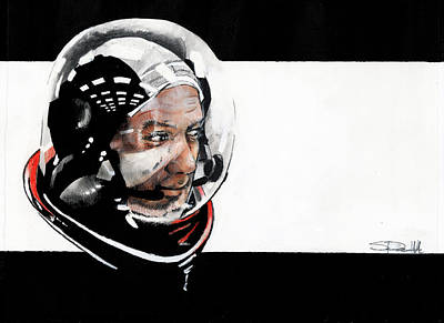 Painting - Buzz Aldrin by Sean Parnell