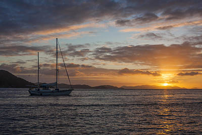 Sailboat Photograph - Bvi Sunset by Adam Romanowicz