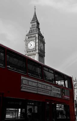Photograph - Bw Big Ben And Red London Bus by RicardMN Photography