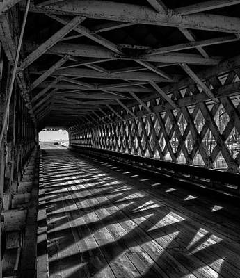 Photograph - Bw Covered Bridge by Fred LeBlanc
