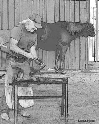 Mixed Media - Bw Farrier Artwork by Lesa Fine