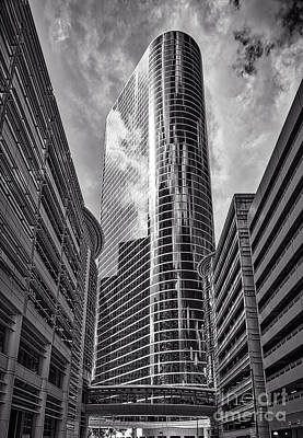 City Scene Photograph - Houston Skyscaper In Black And White by Tod and Cynthia Grubbs