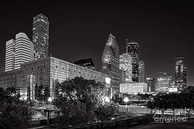 City Scene Photograph - Houston Theater District In Black And White by Tod and Cynthia Grubbs