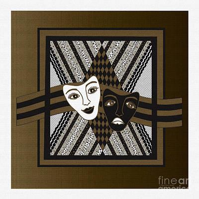 Digital Art - Bw Janus Masks by Megan Dirsa-DuBois
