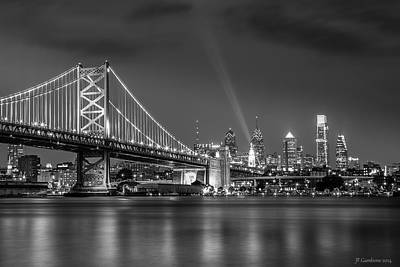 Philadelphia Skyline Photograph - Bw Lit Up Philadelphia by Jason Gambone