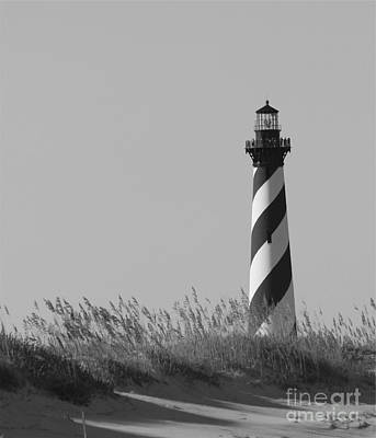 Bw Of Hatteras Lighthouse Art Print by Laurinda Bowling