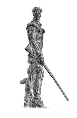 Bw Of Mountaineer Statue Art Print