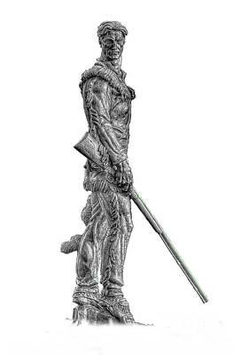 Bw Of Mountaineer Statue Art Print by Dan Friend