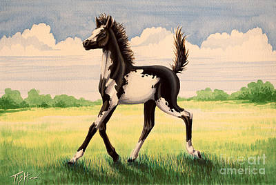 Bw Painted Foal Art Print