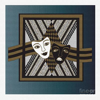 Digital Art - Bwhite Janus Masks by Megan Dirsa-DuBois