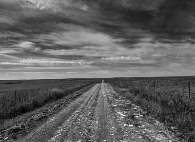 Gravel Road Photograph - Bxw Gravel Vanishing Point by Eric Benjamin
