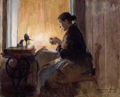Sewing Room Painting - By Lamp Light by Harriet Backer