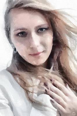 Digital Woman Painting - By My Heart by Gun Legler